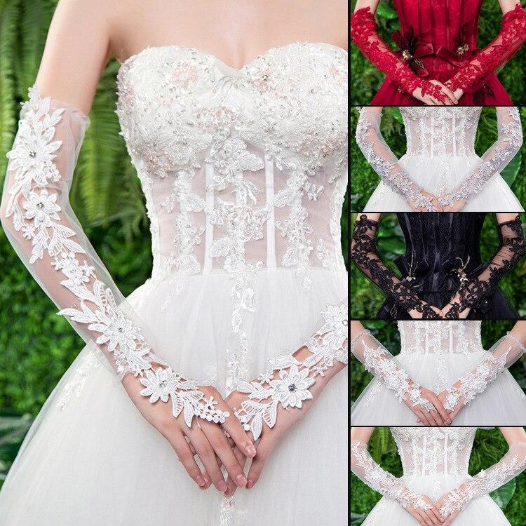 Свадебные перчатки новые кружевные и длинные тонкие свадебные перчатки