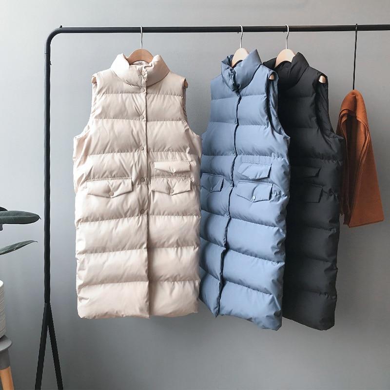 2020 Women Spring Vest Coat Stand Collar Women Long Vest Warm Women Tops Vest Chaleco Mujer Gilet Ca