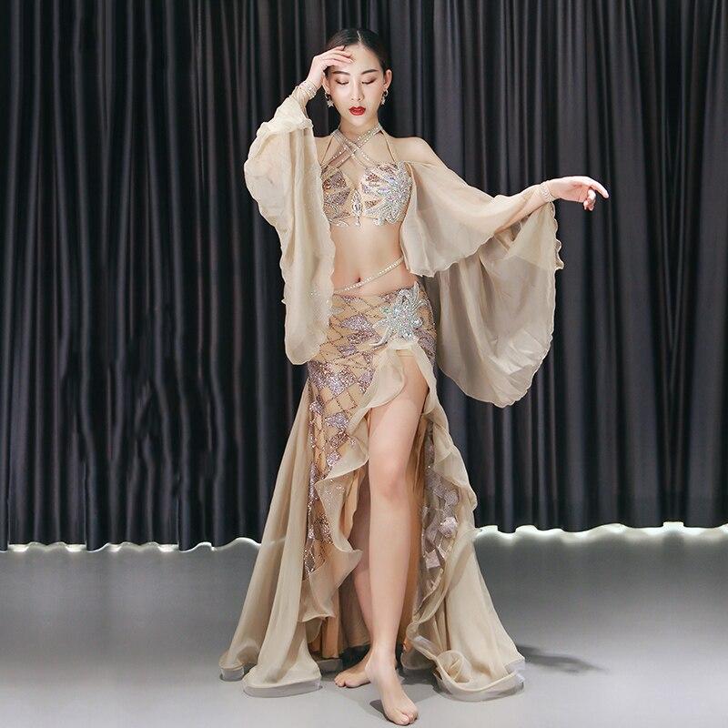 ملابس الرقص الشرقي ملابس النساء الكبار أنيقة لامعة مرحلة الأداء زي المهنية الرقص الشرقي اليدوية الملابس DQL4145