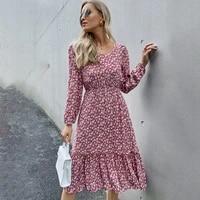 spring long sleeve floral midi woman dress 2021 summer fashion square collar ruffles black dresses for women casual vestidos