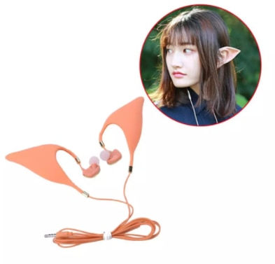 Bass in-ear Headphones with microphone silicone Cat Ear Elf Halloween Cosplay Wired Headset Mobile Headset