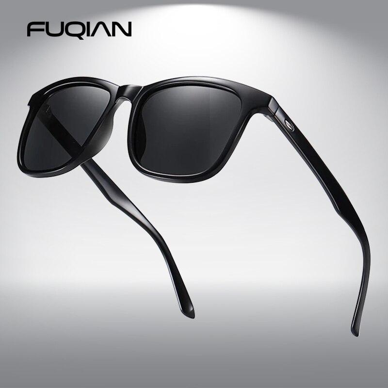 FUQIAN Fashion Square Men Sun Glasses Luxury Polarized Sunglasses Male Stylish Driving Anti-glare Ey