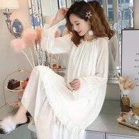 fairy nightdress spring autumn long dress retro princess style cotton long sleeve lace nightgown sexy sleepwear female nightwear