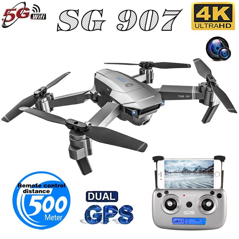 SG907 Quadcopter GPS Drone con 4K Cámara Dual de HD gran angular Anti-vibración WIFI FPV RC Drones plegables GPS profesional sígueme