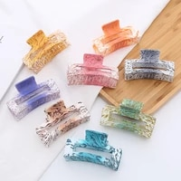 women girls hair claws crab ink color hair clips rectangle acrylic geometric hairpins girl decoration gift hair accessories