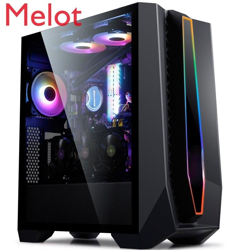 وحدة معالجة خارجية للحاسوب سطح المكتب شفاف كامل شفاف RGB لعبة ATX المياه المبردة برج المضيف