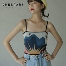 CHEERART Vintage Crop Top Women 2020 Cami Top Backless Print Spaghetti Strap Designer Fashion Tops Croptop Bralette Crop Top