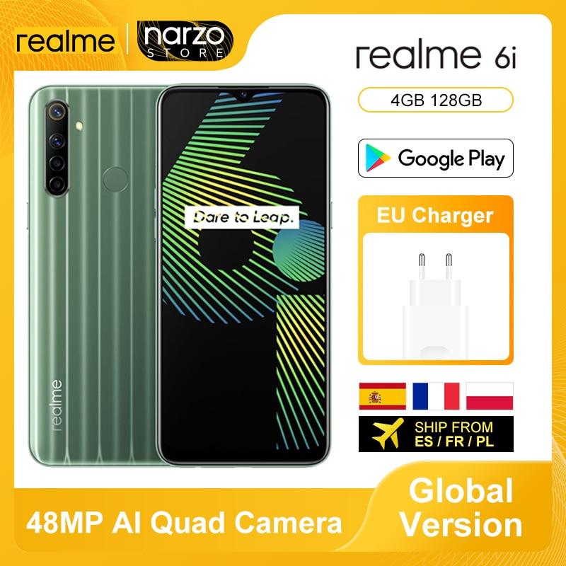 Глобальная версия Realme 6i смартфон 4 Гб 128 Helio G80 6,5 дюймов Дисплей 48MP AI Quad Камера 5000 мАч 18 Вт Quick Charge NFC