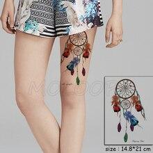 Color Dreamcatcher Gem Feather Tattoos Stickers Women Body Waist Arm Art Tattoos Temporary Girls Butterfly Tatoos Rose Chains