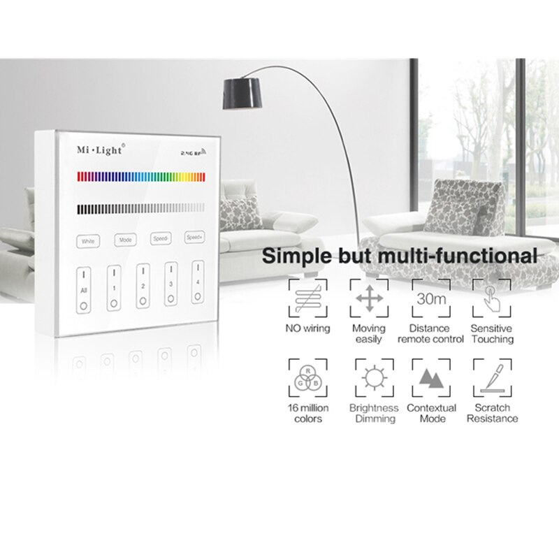 mi light b1 4 zone brightness dimmer smart touch panel remote controller powerd by 3v 2 aaa battery wall mount 2 4g wireless Miboxer B3 4-Zone RGB/RGBW Brightness Dimming Smart Panel 2.4G Wireless Remote Controller Control for LED Strip Light Ribbon