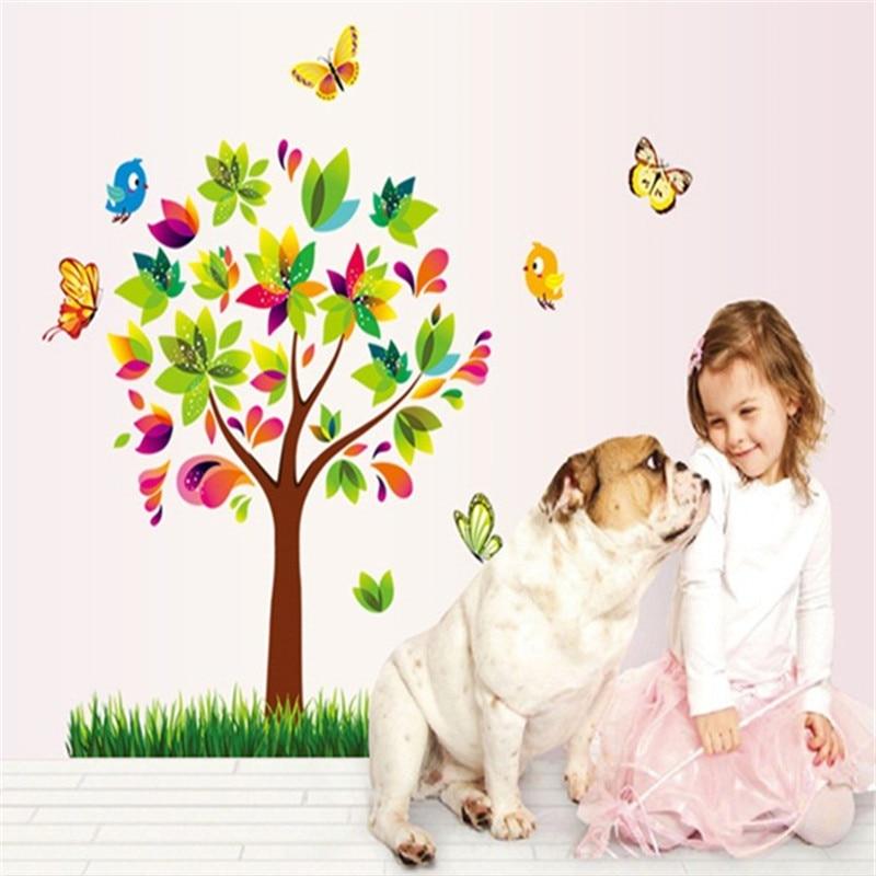 Linda pegatina de pared de árbol con diseño de mariposa y pájaros de dibujos animados, pegatina de pared de árbol para niños, decoración de sala infantil niños, adhesivo para decoración hogareña