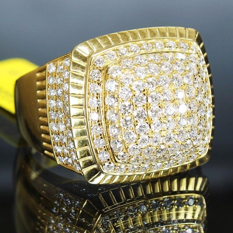 2020 nuevo anillo de marca hip-hop anillo de los hombres anillo de oro hip-hop de circón de moda de anillo de aro de hip-hop joyas de hip-hop anillo de oro