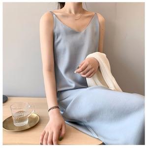 Sundress Plus Size платье Clothing Vintage Dress Sleeveless Strap Satin Robe Maxi Dresses Robes Long V Neck  for Women 2020 2021