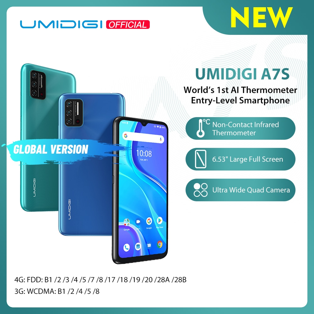 In-Stock UMIDIGI A7S Smart Phone 6.53'' Screen 32GB 4150mAh Triple Camera Global Version Cellphone Infrared Temperature Sensor
