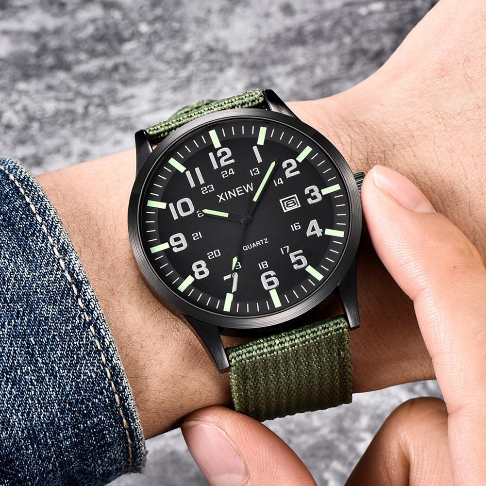 XINEW Fashion Sports Men Watch Calendar Nylon Strap Arabic Numbers Round Dial Analog Quartz Wristwatch Male Gifts orologio uomo