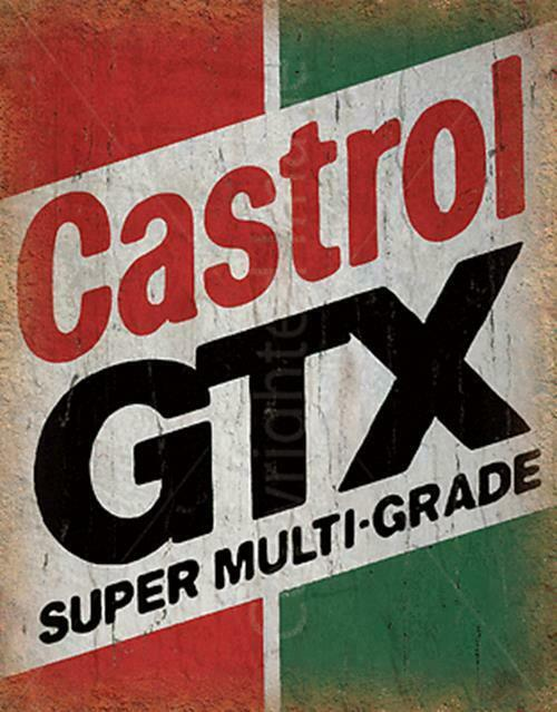 CASTROL-Placa de pared GTX para más alto cartel de lata de METAL...