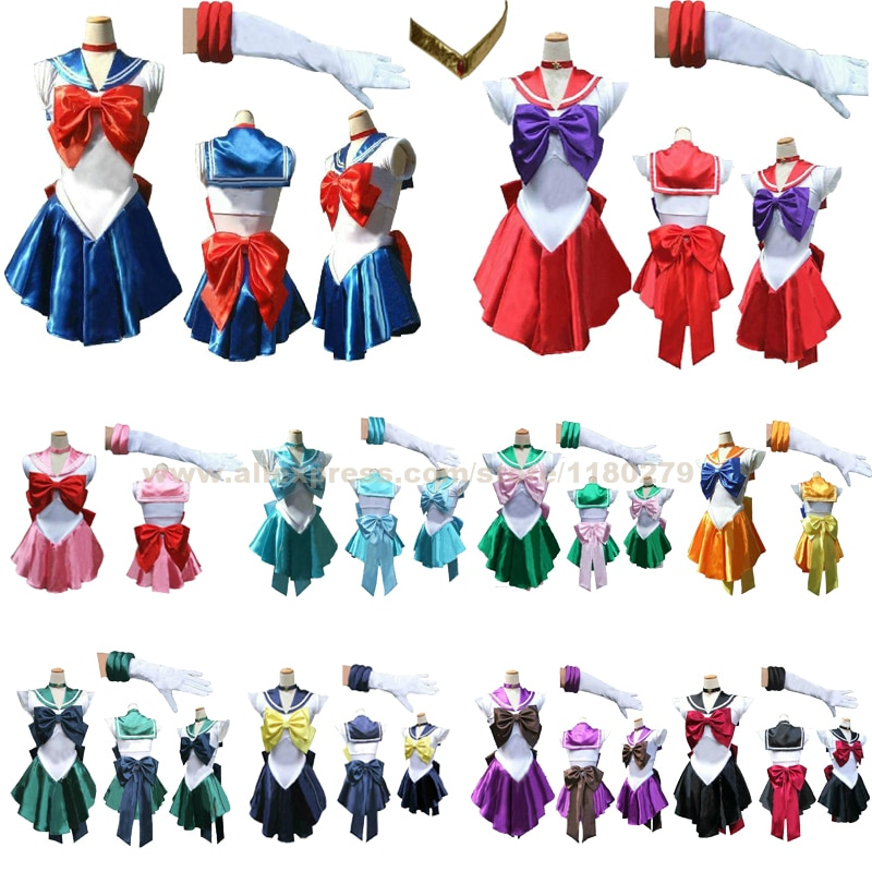 Bonita Soldado Sailor Moon Venus Mercury Júpiter Mars Saturn Chibi Lua Cosplay Costume Party Halloween Dress, Personalizado Aceitar