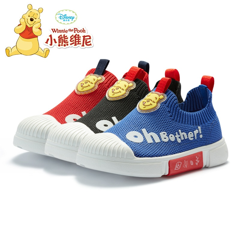 Original Disney Winnie the Pooh Children's Shoes 1--3 Years Old Comfortable and Breathable Toddler Shoes Flying Knitted Sneakers