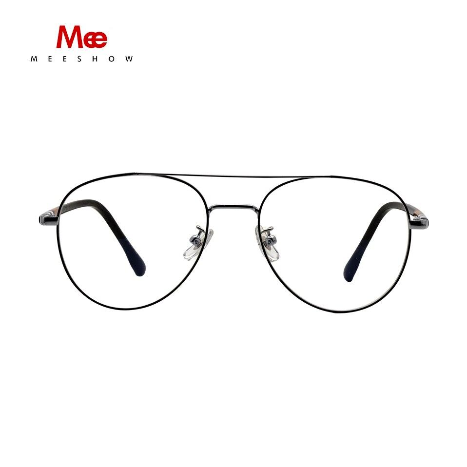 Meeshow سبائك التيتانيوم النظارات الإطار الرجال النساء الكلاسيكية النظارات المعتاد إطار بصري مستدير أوروبا الطيار وصفة طبية نظارات