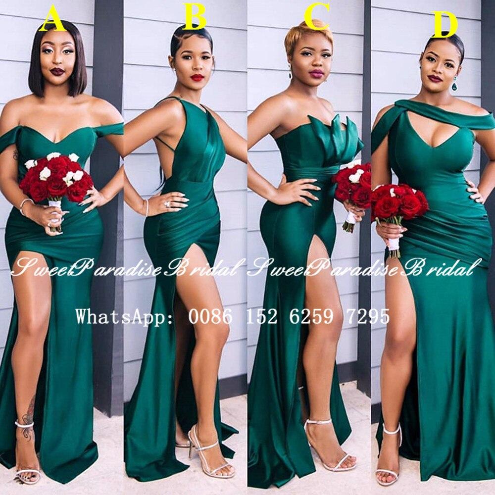 Hunter Green Long Bridesmaid Dresses 2020 Customize Sexy Side Split Mermaid Wedding Party Dress Form