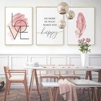 Toile dart mural rose Blush avec plume  peinture  citation inspirante  affiche et image imprimee de signe damour pour chambre de fille  decoration de maison