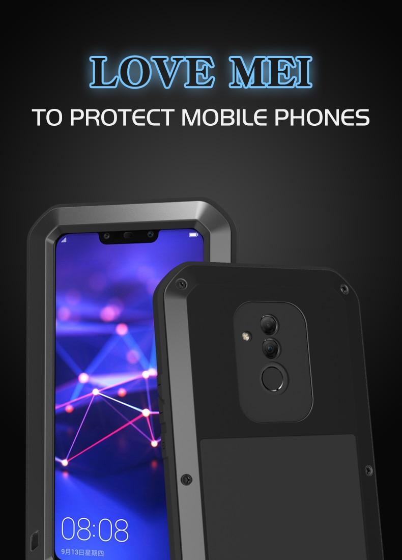 Love Mei-غلاف معدني قوي مقاوم للماء لهاتف Huawei Mate 20 Lite/Huawei Mate 20 Pro/Huawei Mate 20 ، درع مقاوم للصدمات وزجاج غوريلا