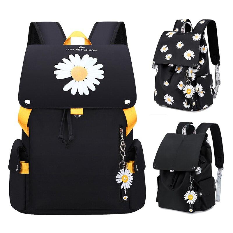 New Black Usb Charging Women Backpack Student Schoolbag Waterproof Travel Bagpack High School Bags For Teenage Girls Kids Flower