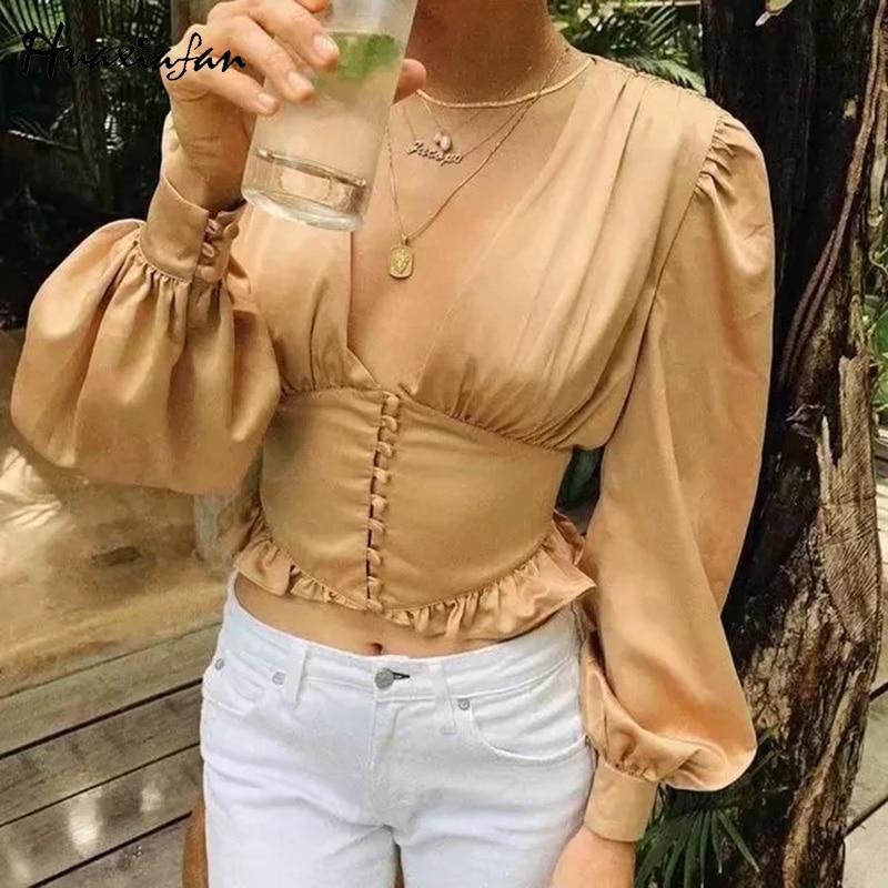 Blusa de mujer Huaxiafan camisas de satén de encaje con volantes botón linterna de manga larga blusa vintage blusa corta sexy cuello en v camisas