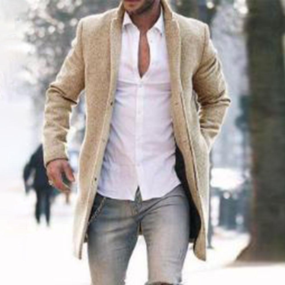موضة جديدة لخريف وشتاء 2021 للرجال معطف صوفي بلون واحد يحافظ على الدفء بجيب وأكمام طويلة