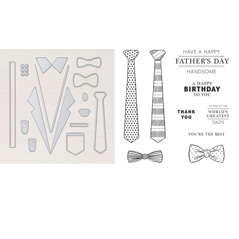 Handsomely Suited Stamp Set and Coordinating Dies Tie Father's Day Clear Stamp For Card Making DIY S