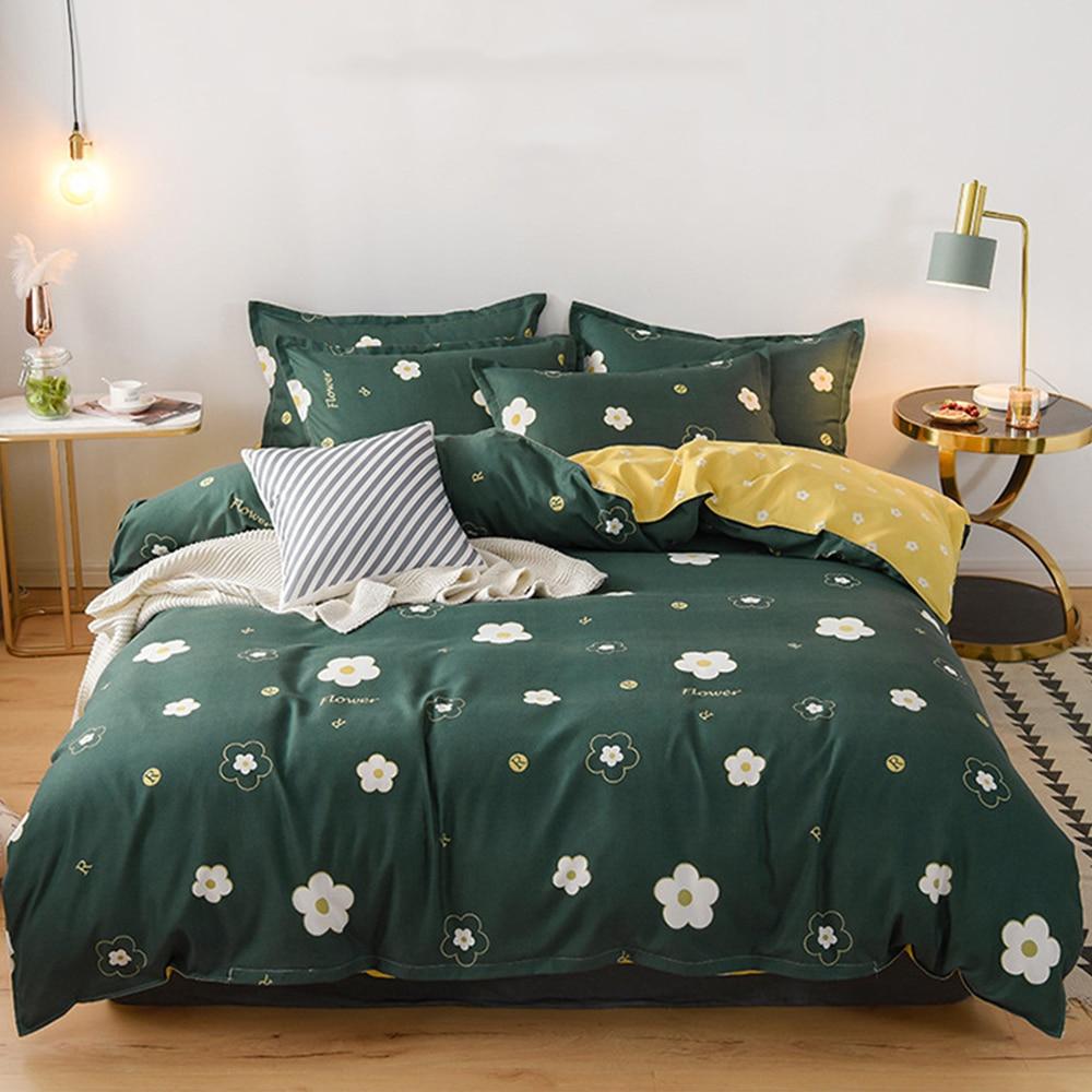 Zeroomade 4 قطعة الفراش مجموعة مع المخدة غطاء لحاف مجموعات القطن السرير ورقة مزدوجة الملكة الملك الحجم لحاف يغطي أغطية