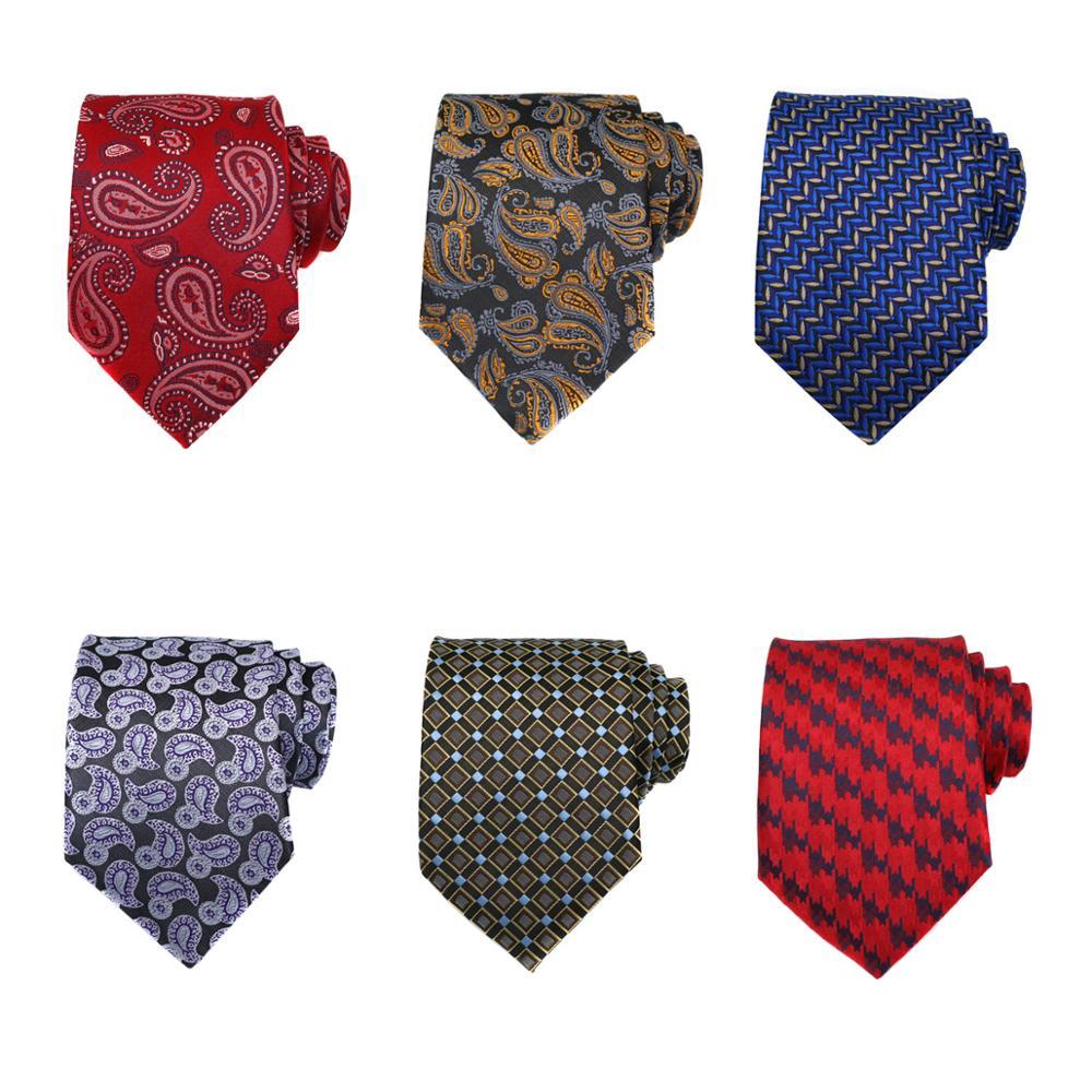 Бесплатная доставка партия (упаковка 6 штук) галстуки для мужчин различные Пейсли красный черный синий жаккард Тканые Галстуки свадебный ак...