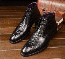 Modèle de Crocodile américain européen automne hiver hommes bottes Martin bottes en cuir véritable bottes de à lacets de mode