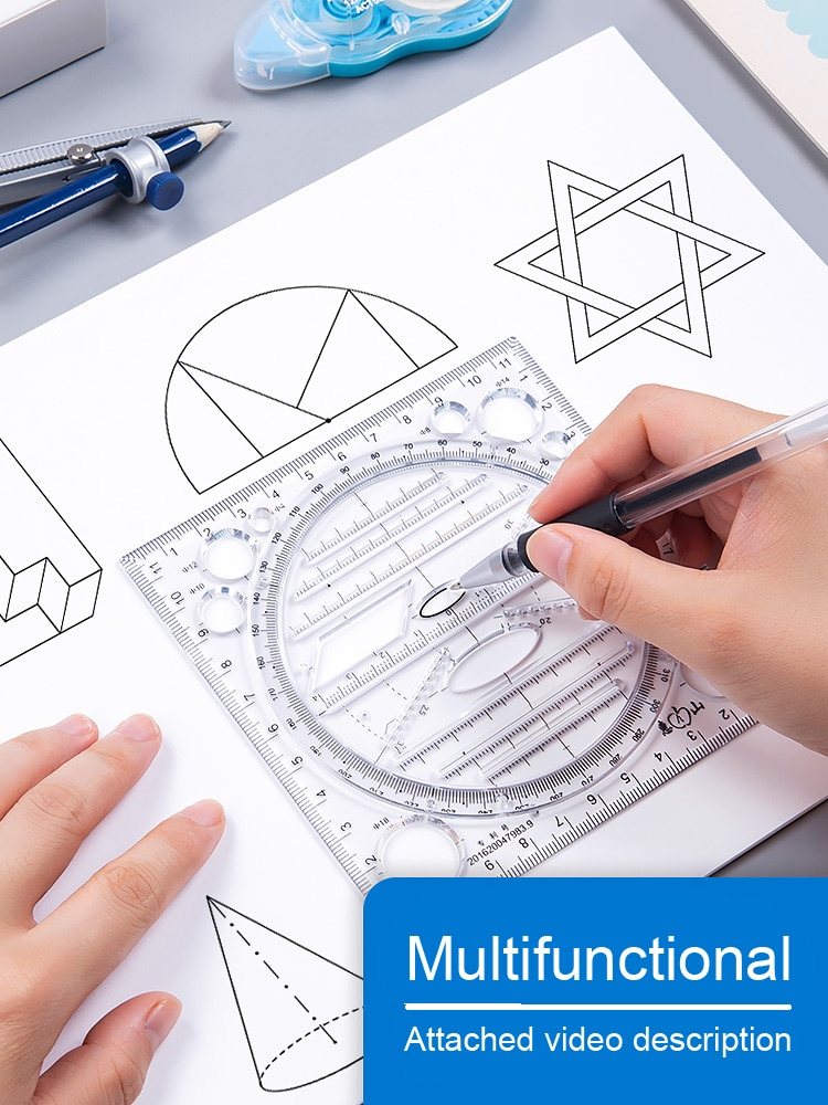 Multifunctional Ruler Set Math Geometry Circle Drawing Exam Protractor Design Creative Drawing Stationery Rulers Drafting Tools