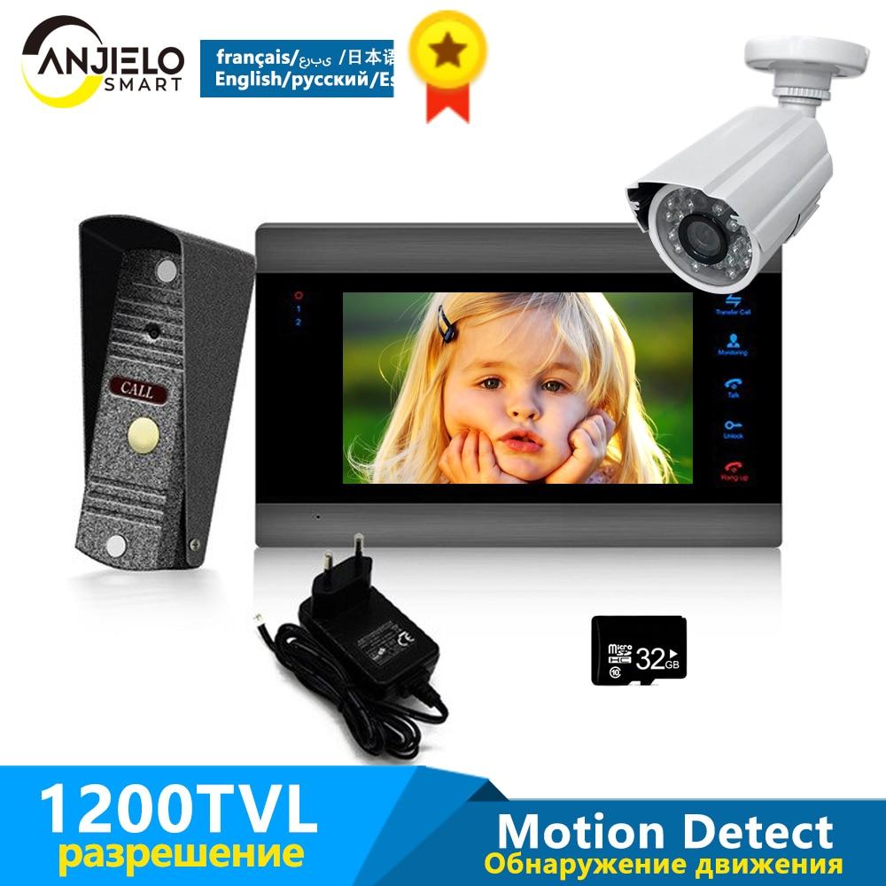 7 inch Black Monitor 1200TVL Silver Doorbell & 1200TVL Security Camera Home Intercom Video Door Phone System Ship from Russian