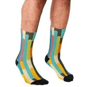 Funny Socks Men harajuku Retro Color Block Popsicle Sticks Blue Printed Happy hip hop Men Socks Novelty Skateboard Crew Socks