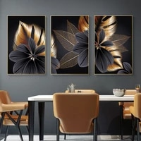 WTQ     toile de luxe abstraite  fleur  feuille  peinture murale pour salon  plante  Art mural  decor de maison
