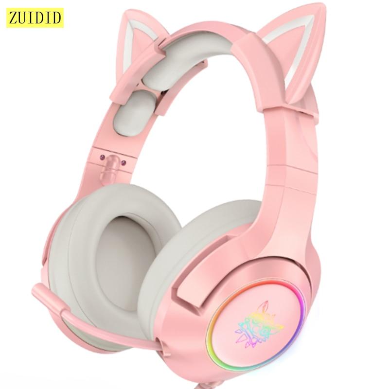 سماعات ألعاب K9 LED Cat ، وردي ، صوت ستيريو 7.1 ، قابل للإزالة ، إلغاء الضوضاء ، سماعة رأس سلكية RGB مع ميكروفون