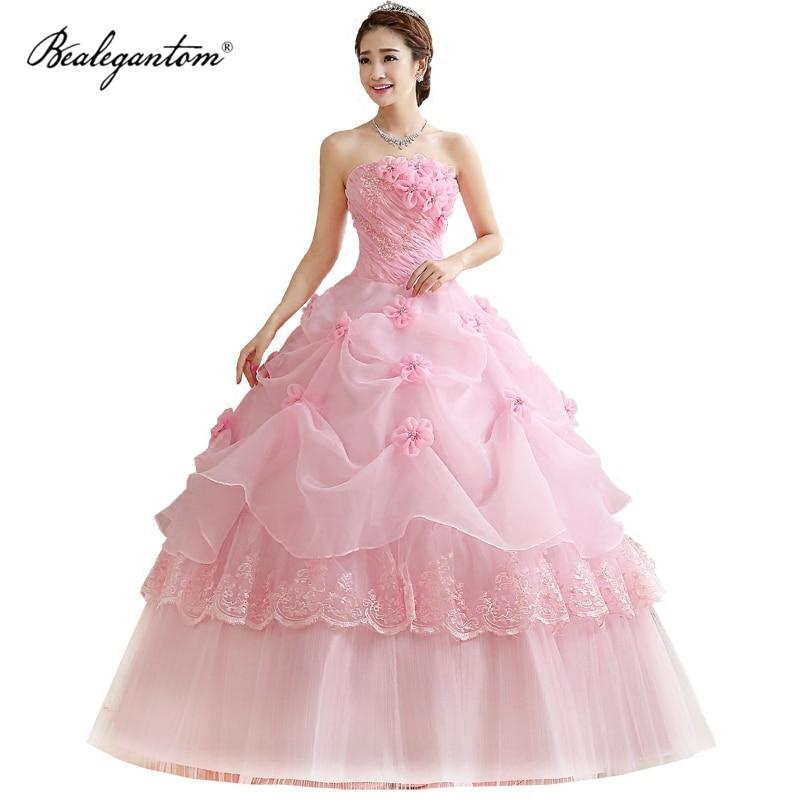 Bealegantom الكرة ثوب الوردي Vestidos دي 15 الزهور رخيصة فساتين Quinceanera 2021 الحلو 16 Debutante فساتين حفلات تنكرية