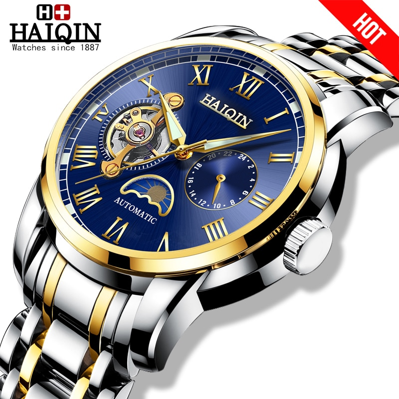 HAIQIN Mechanical watches mens automatic wrist watch for mens watches top brand luxury watch men Tou