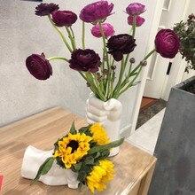 Ручное моделирование керамическая ваза кулак ваза белый керамический цветочный горшок Цветочная композиция гостиная современный домашни...