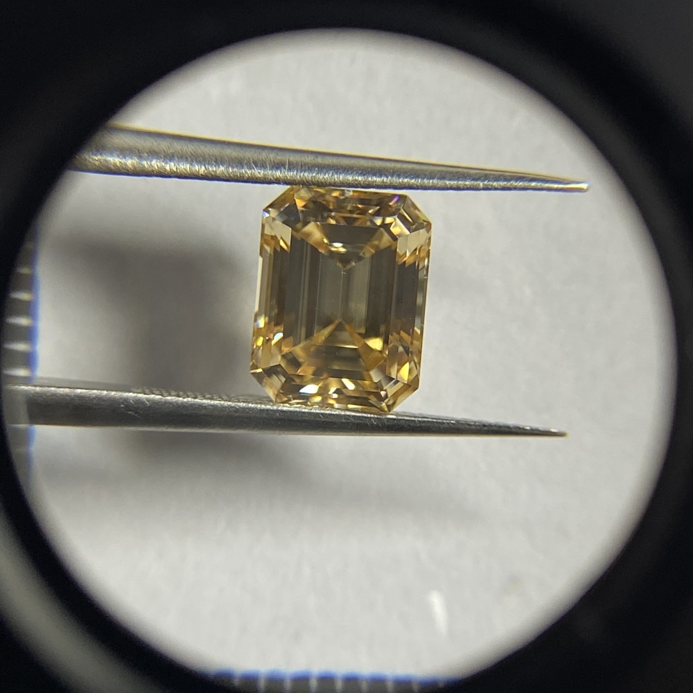 Meisidian 2021 منتجات جديدة 10x12 مللي متر 6 قيراط المثمن قطع VVS1 يتوهم الأصفر مويسانيتي الظلام الذهبي خاتم الماس