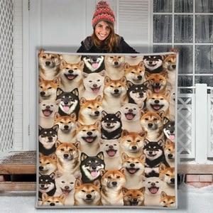 Brown And Black Shina Inu Dog Funny Face Soft Throw Premium Sherpa Fleece Blanket
