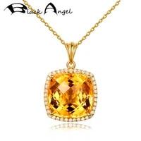 black angel new 18k gold luxury square citrine yellow tourmaline crystal gemstone cz pendant necklace for women wedding jewelry