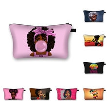 Female Travel Cosmetic Bag Cute Afro Girl Print Cosmetic Case Fashion Makeup Bag Toiletry Tool Bags