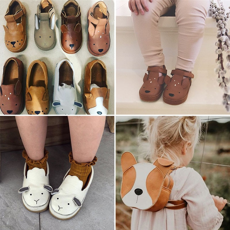 Donsje Real Leather ! Kids Brand Shoes Lovely Animal Toddler Boys Girls Fall Winter Shoes Top Qualit