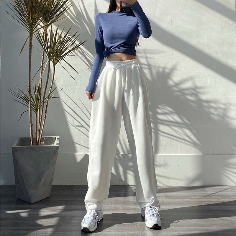 MINGLIUSILI الكورية نمط Sweatpants النساء موضة ربيع 2021 الأبيض جوغرز المرأة الصلبة عالية الخصر الشارع الشهير بناطيل كاجوال