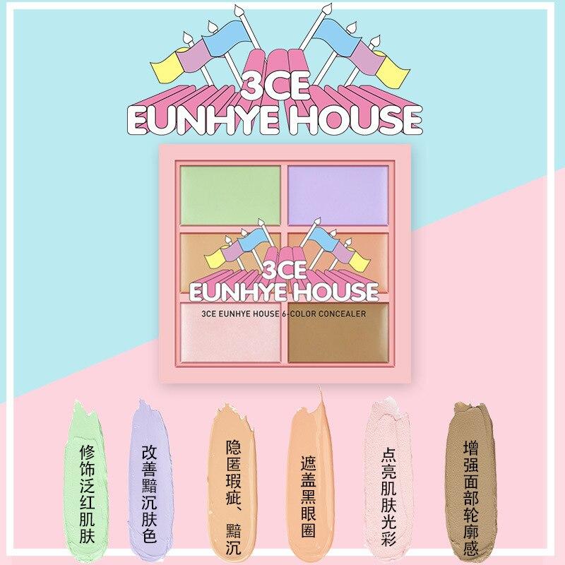 3ce eunhye house novo estilo 6-color corretivo iluminar a cor da carne aparar paleta de maquiagem