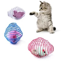 funny cat stick self excited kitten toy prison mouse cage telescopic interactive toys funny wire spring pet cat supplies