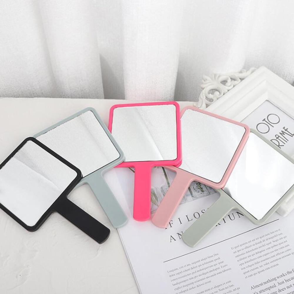 Handle Mirror Square Makeup Mirror Handheld Vanity Mirror Hand Mirror SPA Salon Makeup Vanity Cosmet